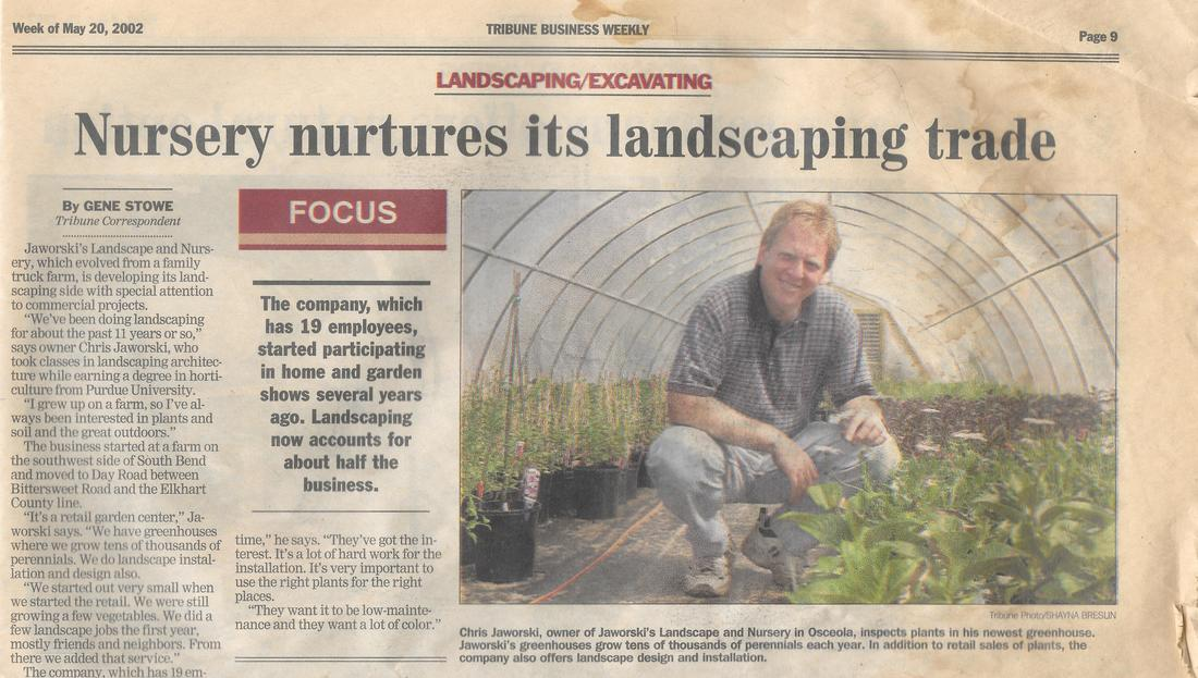 Jaworski Landscape and Nursery Tribune Business Weekly Article May 2002 Featuring Chris Jaworski